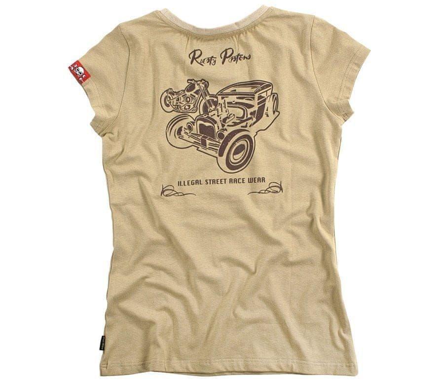 Béžové dámské motorkářské tričko s krátkým rukávem Rusty Pistons - velikost XS
