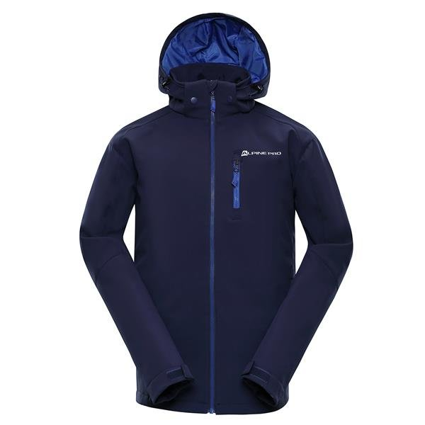 Modrá softshellová nepromokavá pánská bunda s kapucí Alpine Pro - velikost XS