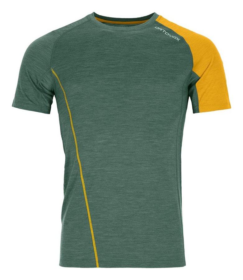 Zeleno-žluté pánské termo tričko s krátkým rukávem Ortovox