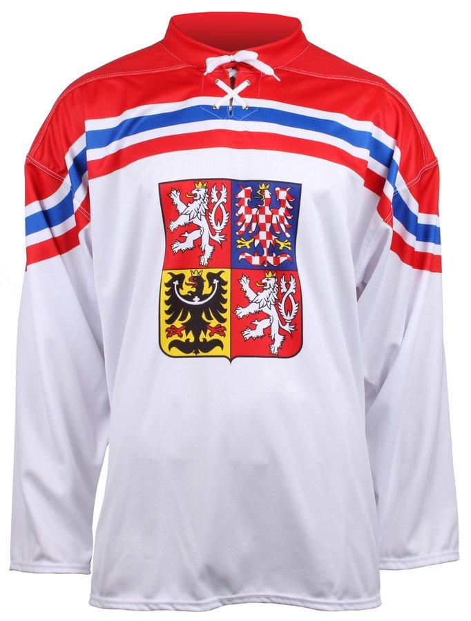 Bílý unisex hokejový dres ČR, OH Soči 2014, Merco