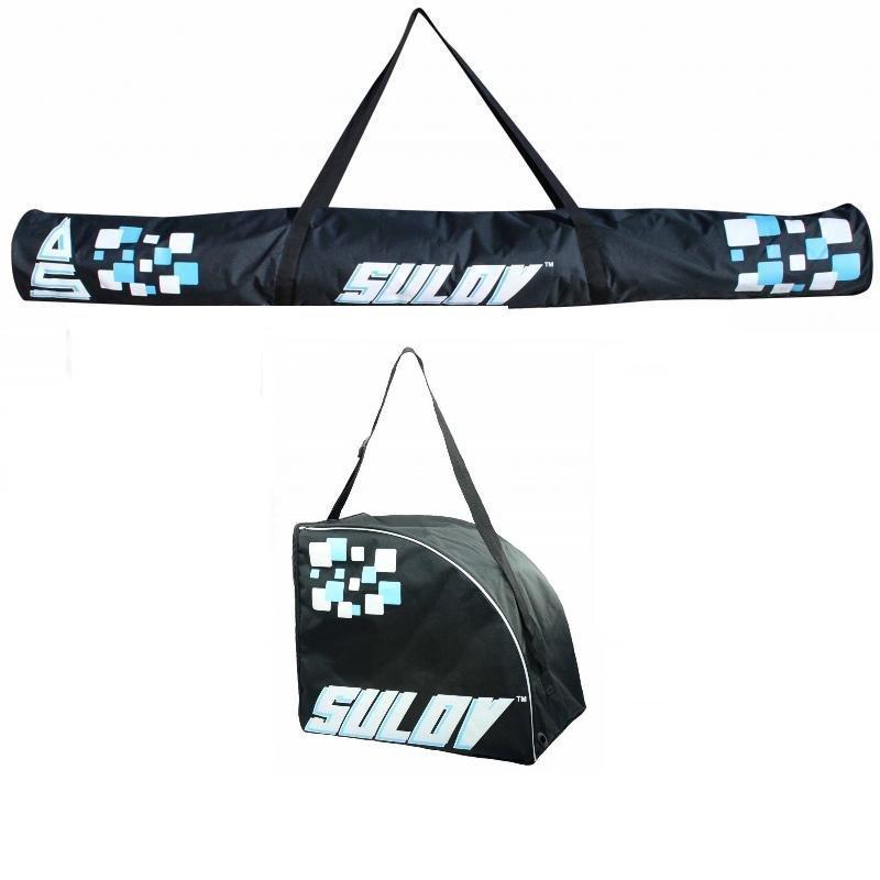 Černý vak na lyže pro 1 pár Sulov, Černá taška na lyžařské boty pro 1 pár Sulov