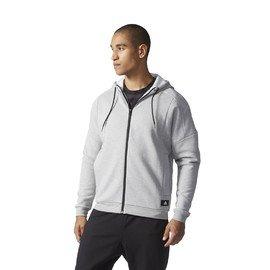 Šedá pánská mikina s kapucí Adidas - velikost S