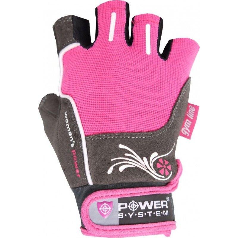Růžovo-šedé dámské fitness rukavice Power System