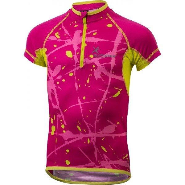 Růžový dívčí cyklistický dres Klimatex - velikost 134