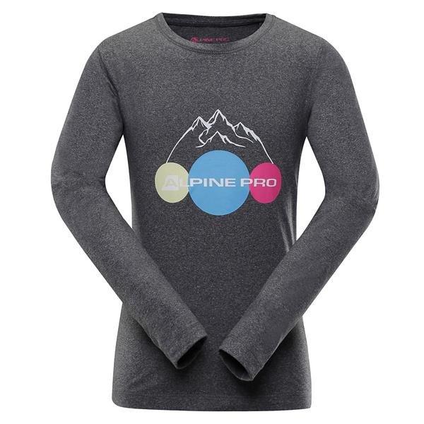 Šedé dětské tričko s dlouhým rukávem Alpine Pro - velikost 116-122