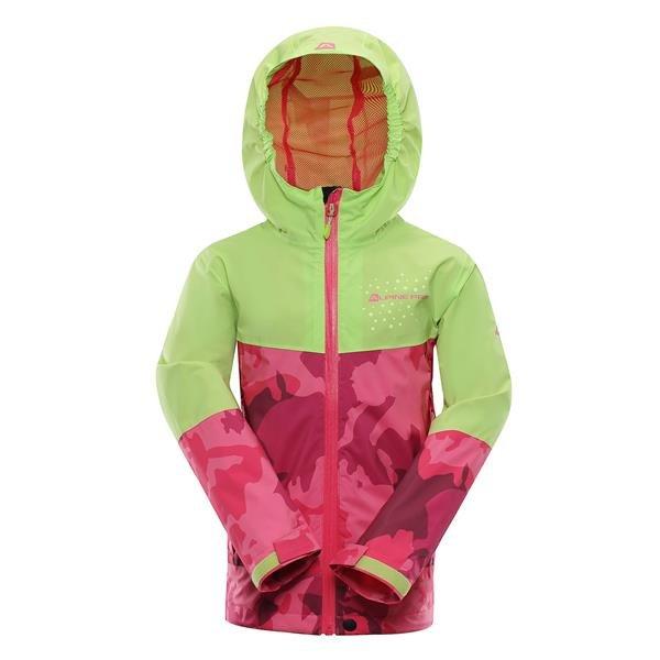 Růžovo-zelená zimní dívčí bunda s kapucí Alpine Pro - velikost 164-170