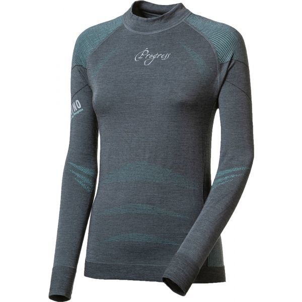 Šedé dámské funkční tričko s dlouhým rukávem Progress - velikost L