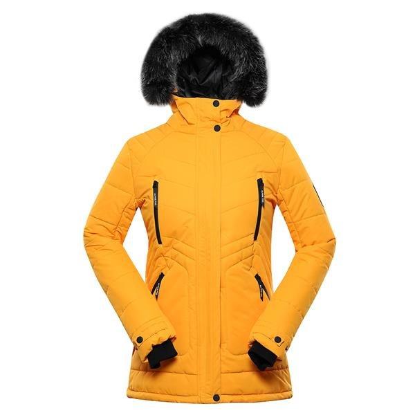 Žlutá zimní dámská bunda s kapucí Alpine Pro - velikost XXL