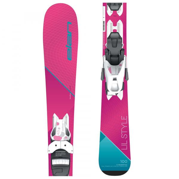 Růžové dívčí lyže s vázáním Elan