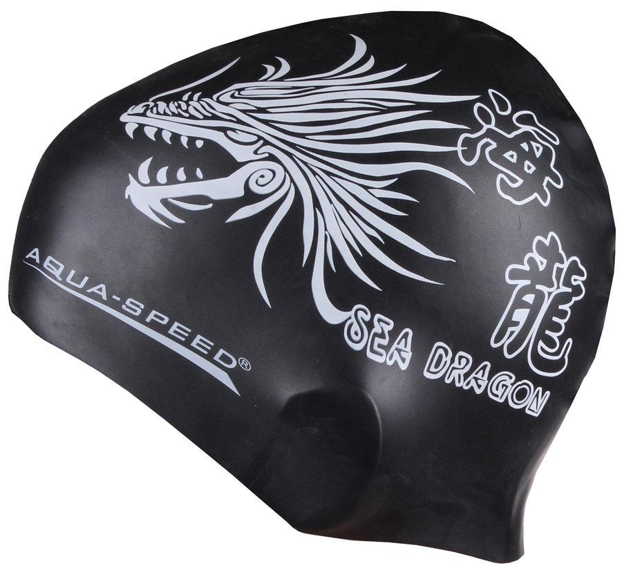 Černá dámská nebo pánská plavecká čepice Dragon, Aqua-Speed