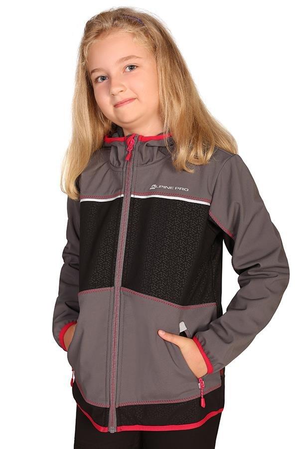 Šedá softshellová dětská bunda s kapucí Alpine Pro