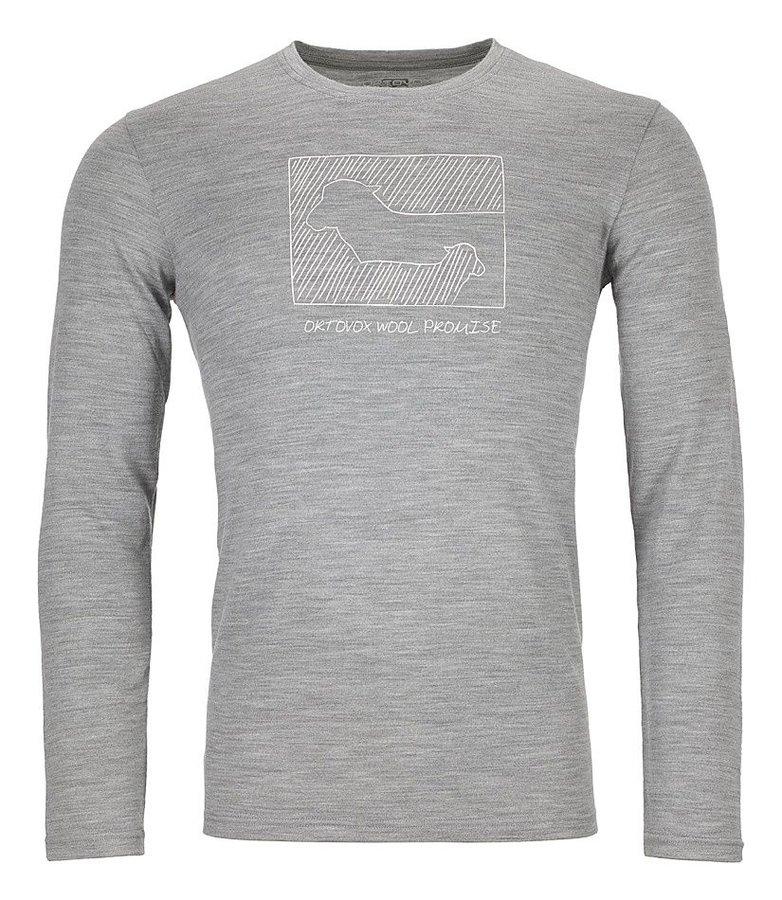 Šedé pánské termo tričko s dlouhým rukávem Ortovox