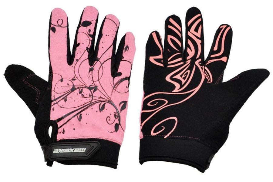 Černo-růžové dámské cyklistické rukavice Maxbike - velikost M