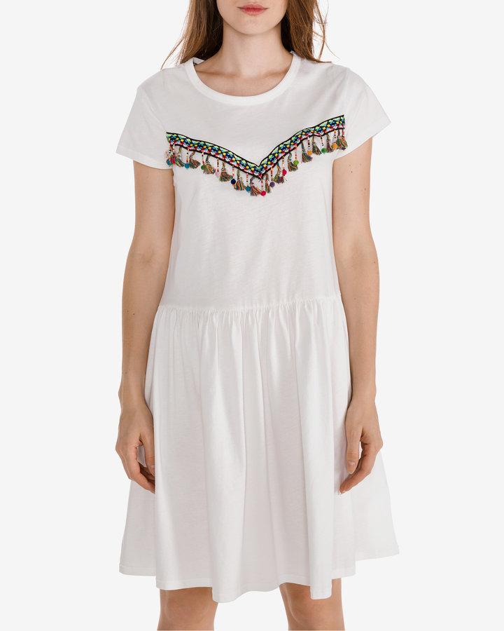 Bílé dámské šaty Silvian Heach - velikost XXS