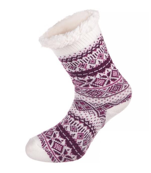 Bílo-fialové vysoké ponožky Alpine Pro