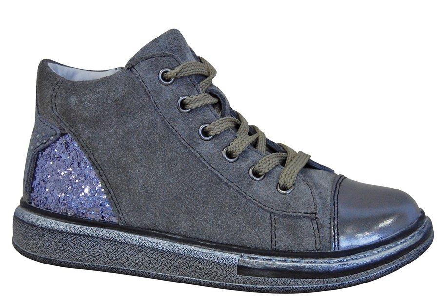 Modro-šedé dětské dívčí kotníkové boty Protetika