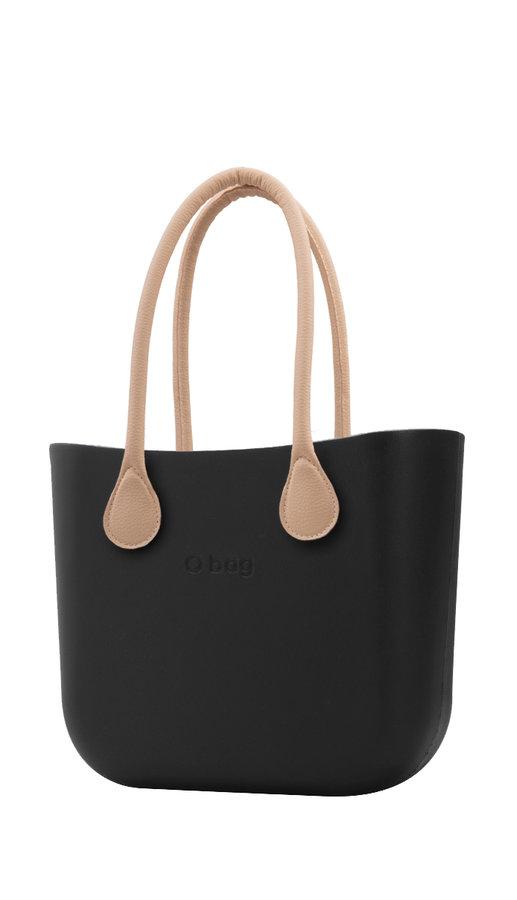 Kabelka - O bag kabelka Nero s dlouhými koženkovými držadly natural