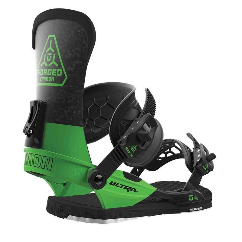 Zelené vázání na snowboard Union - velikost L