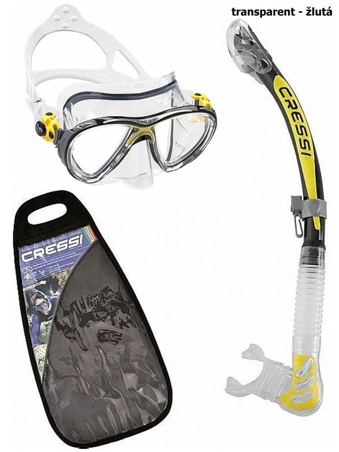 Potápěčská sada - Potápěčský set CRESSI Big Eyes+Alpha Ultra Dry - transparent žlutá
