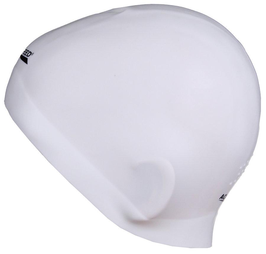 Bílá pánská nebo dámská plavecká čepice RACER, Aqua-Speed
