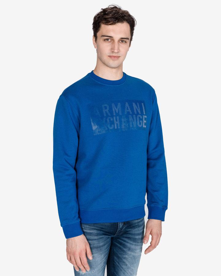 Modrá pánská mikina bez kapuce Armani Exchange - velikost XL