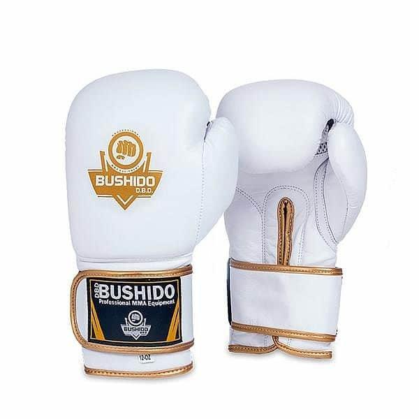 Bílo-zlaté boxerské rukavice Bushido - velikost 12 oz