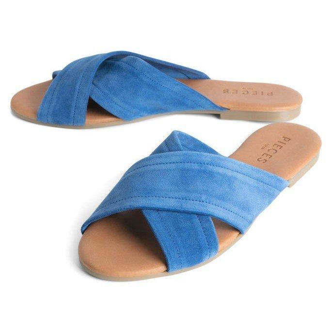 Modré dámské pantofle Pieces - velikost 36 EU