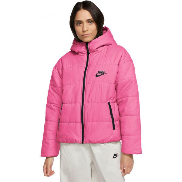 Růžová zimní dámská bunda s kapucí Nike
