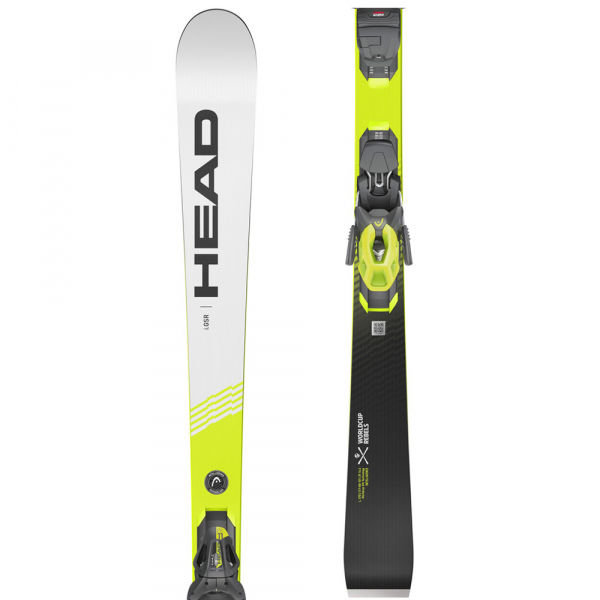 Bílo-žluté pánské lyže s vázáním Head - délka 160 cm