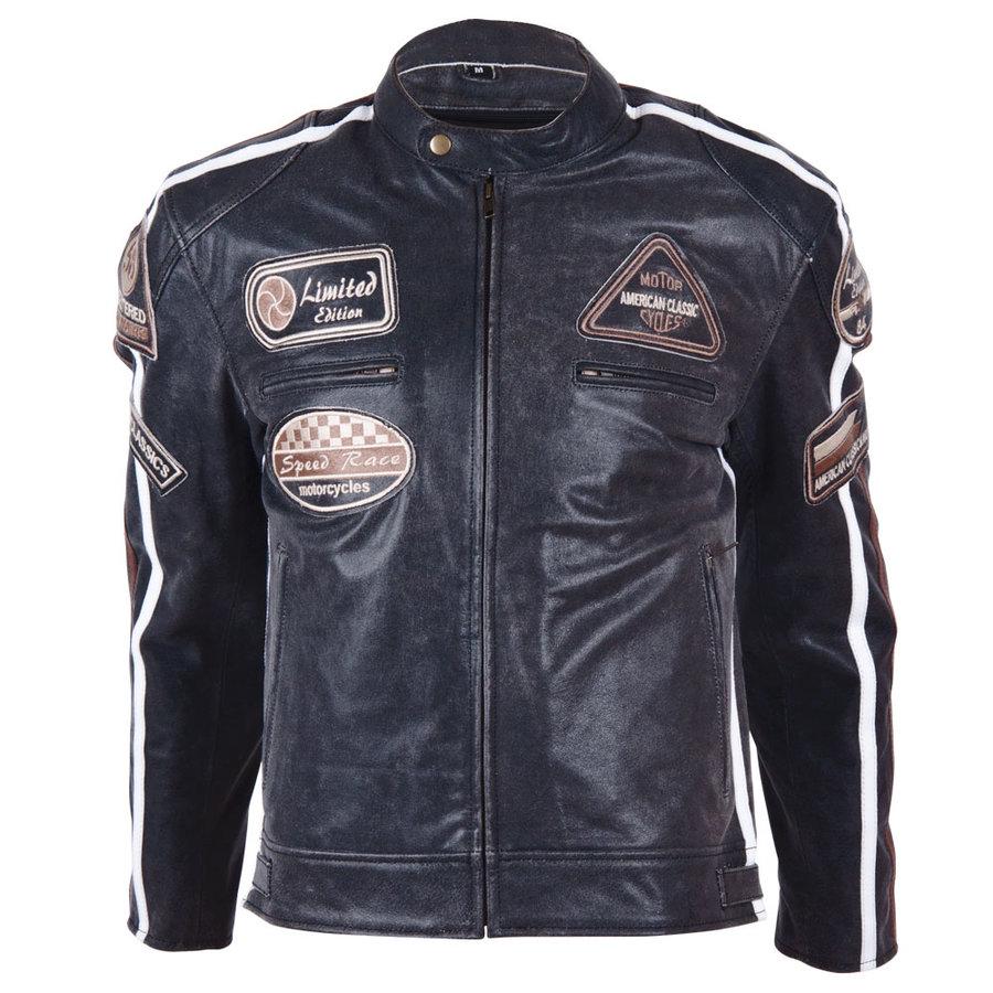 Černá pánská motorkářská bunda 2058, BOS - velikost L