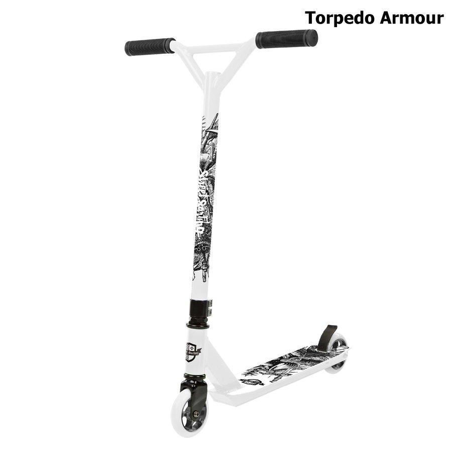 Bílo-černá dětská BMX freestylová koloběžka pro dospělé Torpedo, Street Surfing - nosnost 100 kg