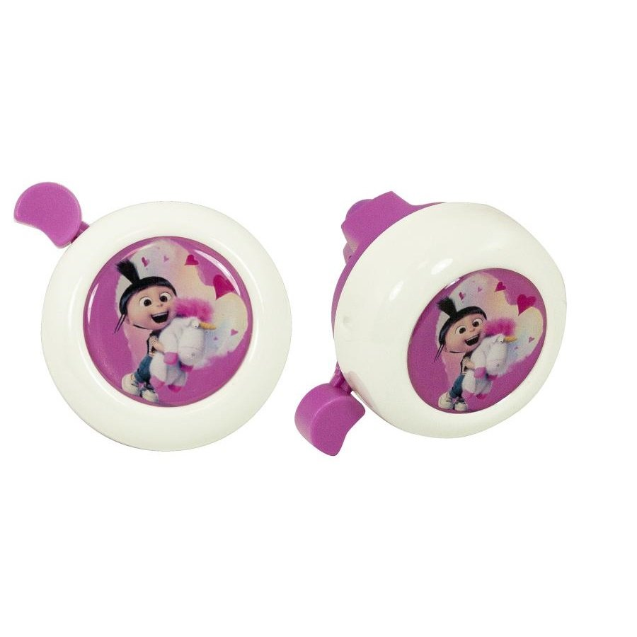"""Bílo-růžový dětský zvonek na kolo """"Mimoni"""""""