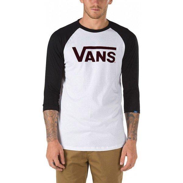 Bílo-černé pánské tričko s dlouhým rukávem Vans