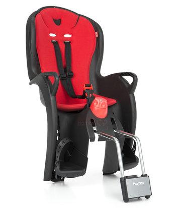 Černo-červená dětská sedačka na kolo zadní umístění Hamax - nosnost 22 kg
