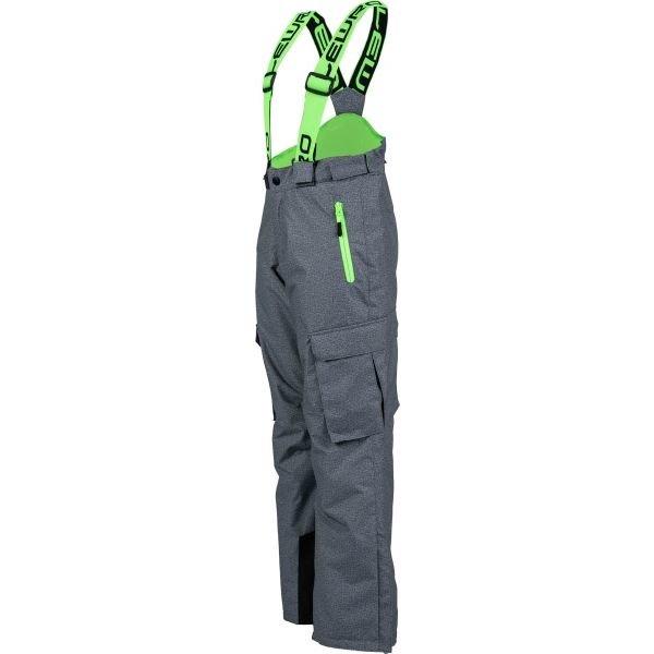Šedo-zelené dětské snowboardové kalhoty Lewro
