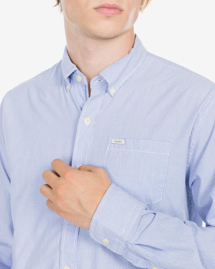 Modrá pánská košile s dlouhým rukávem Pepe Jeans - velikost M