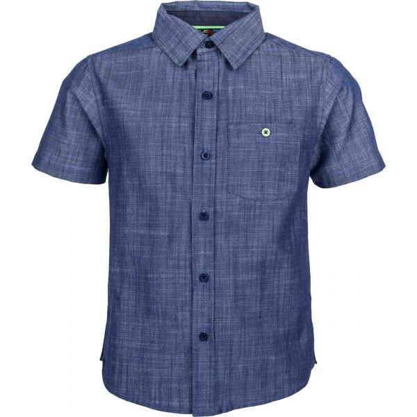 Modrá chlapecká košile s krátkým rukávem Lewro - velikost 140