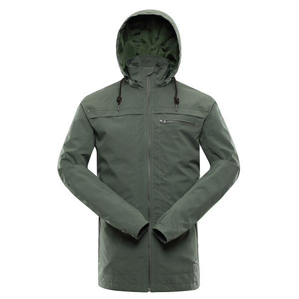 Šedá nepromokavá pánská bunda s kapucí Alpine Pro
