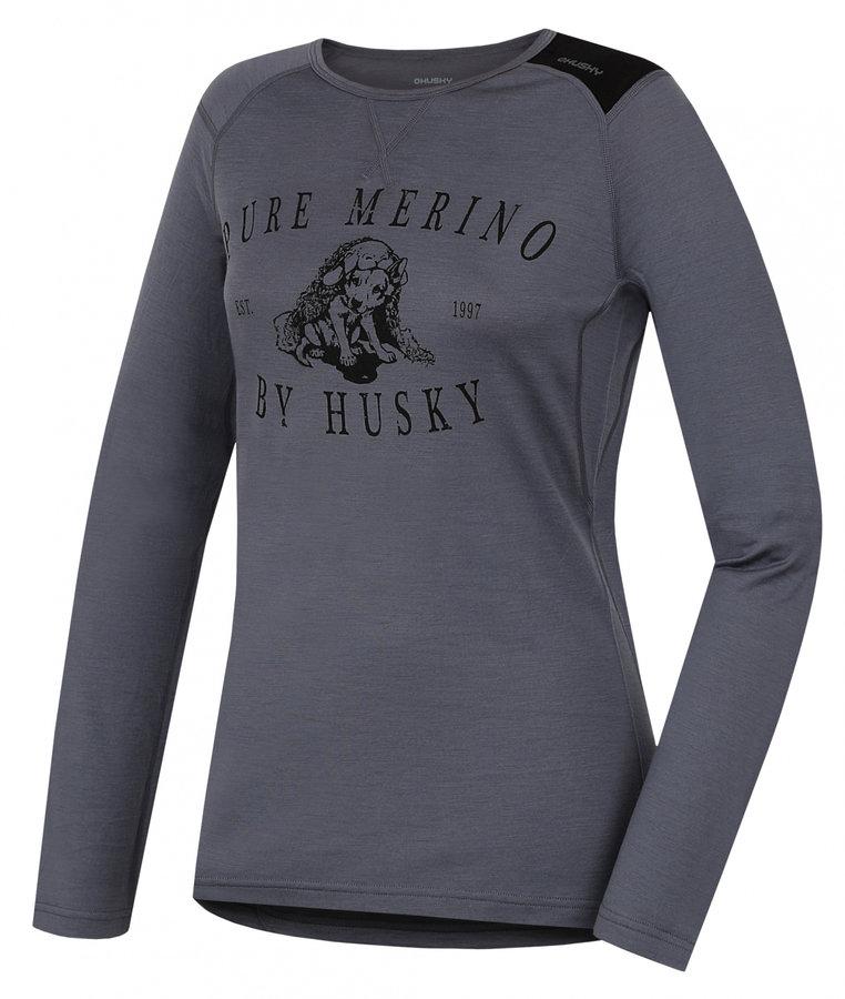 Šedé dámské termo tričko s dlouhým rukávem Husky