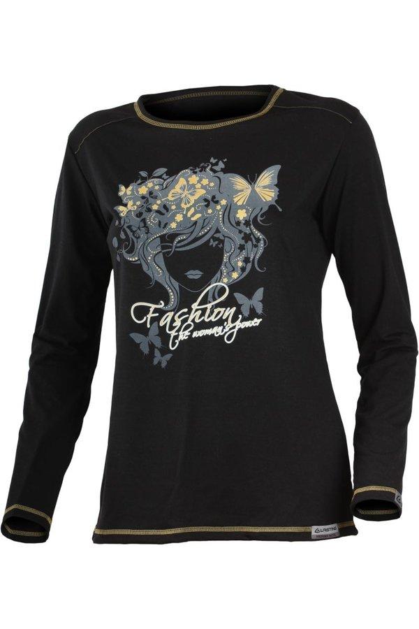 Černé dámské tričko s dlouhým rukávem Lasting - velikost XXL