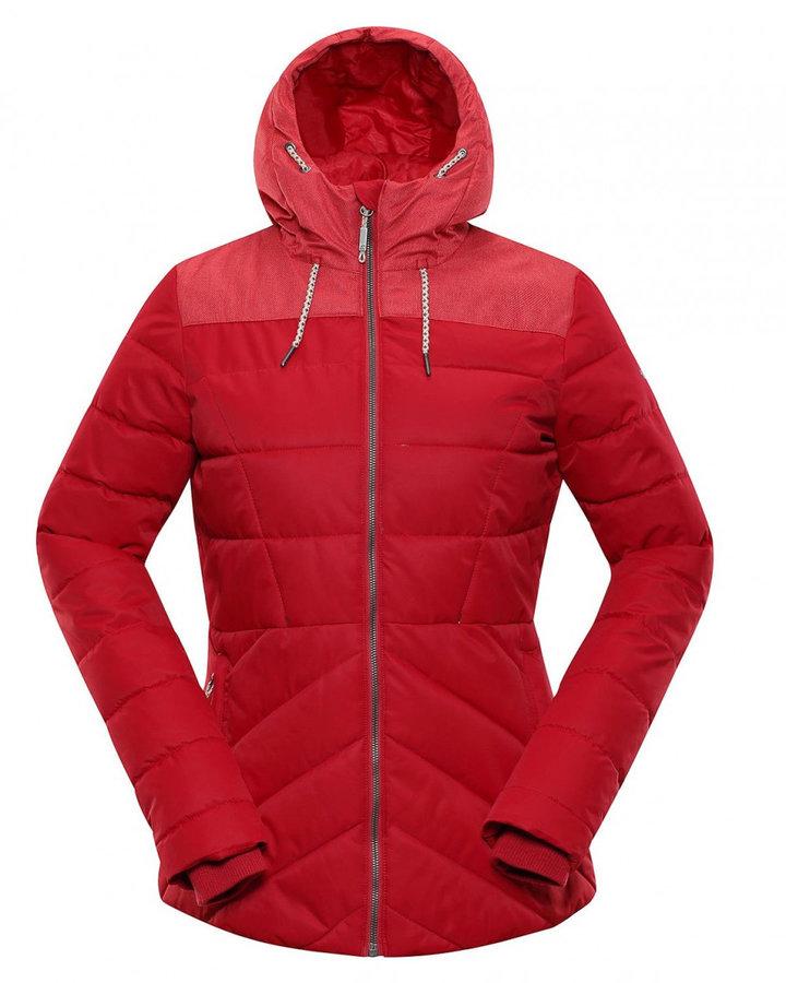 Červená zimní dámská bunda s kapucí Alpine Pro