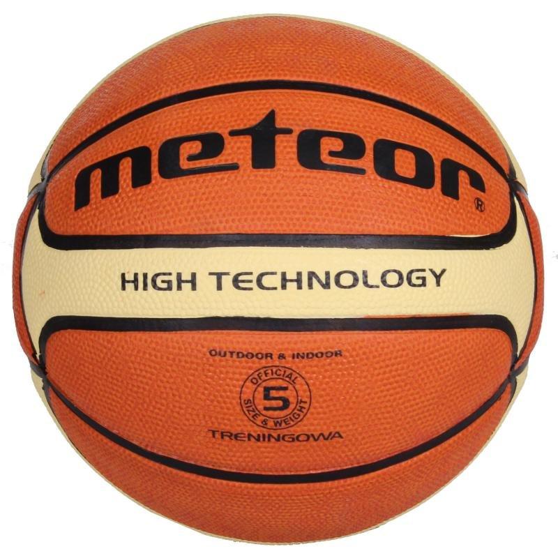 Hnědo-žlutý basketbalový míč Meteor - velikost 5
