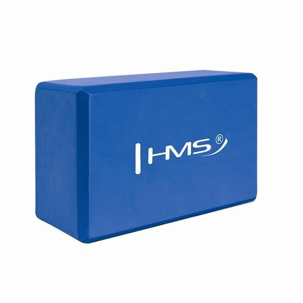 Modrý jóga blok HMS - délka 22 cm, šířka 15 cm a výška 10 cm