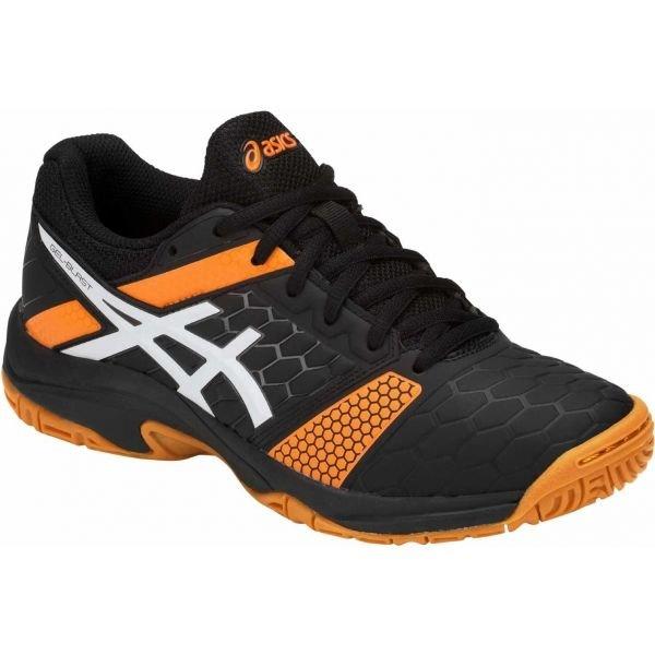 Černo-oranžové dětské boty na házenou Asics - velikost 35,5 EU