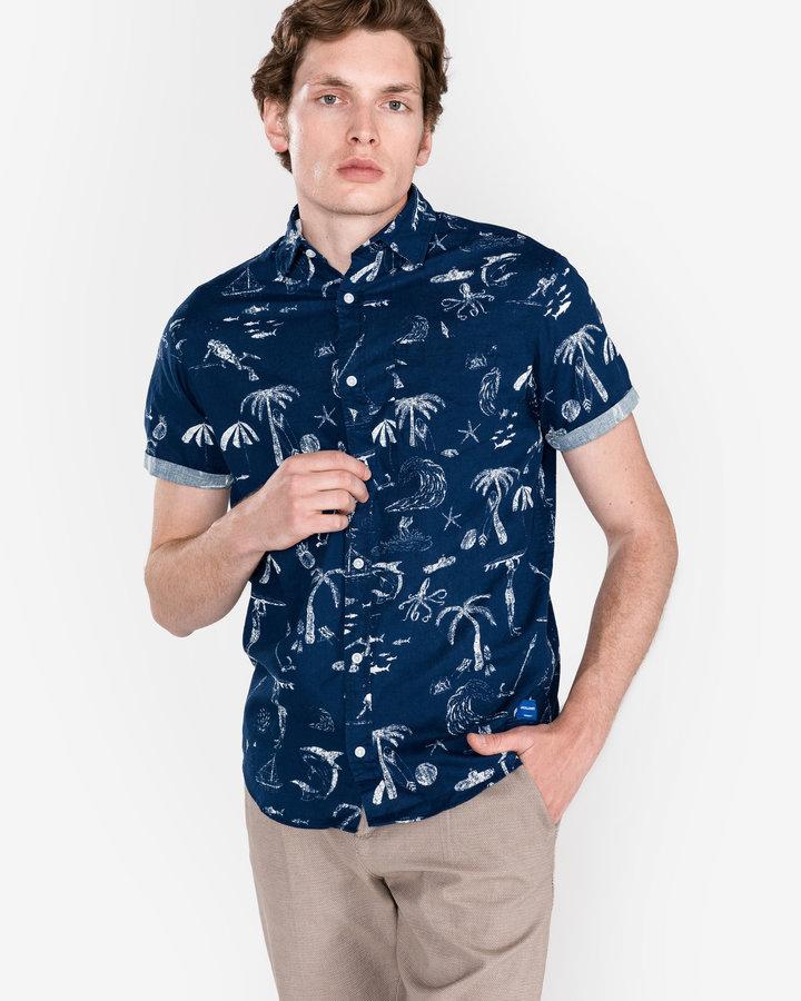 Modrá pánská košile s krátkým rukávem Jack & Jones