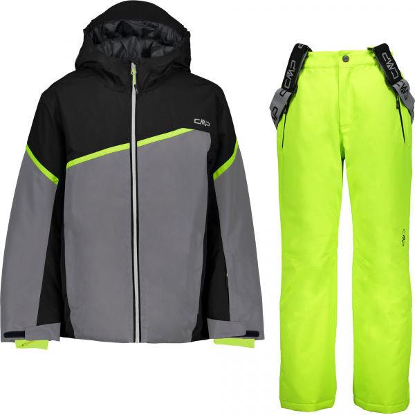 Šedo-zelený chlapecký lyžařský komplet CMP
