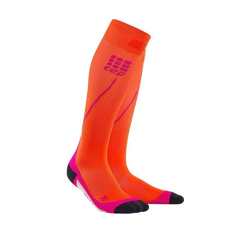 Oranžové vysoké dámské běžecké ponožky CEP - univerzální velikost