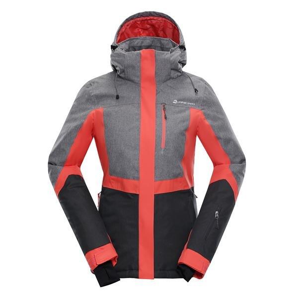 Růžovo-šedá dámská lyžařská bunda Alpine Pro - velikost L