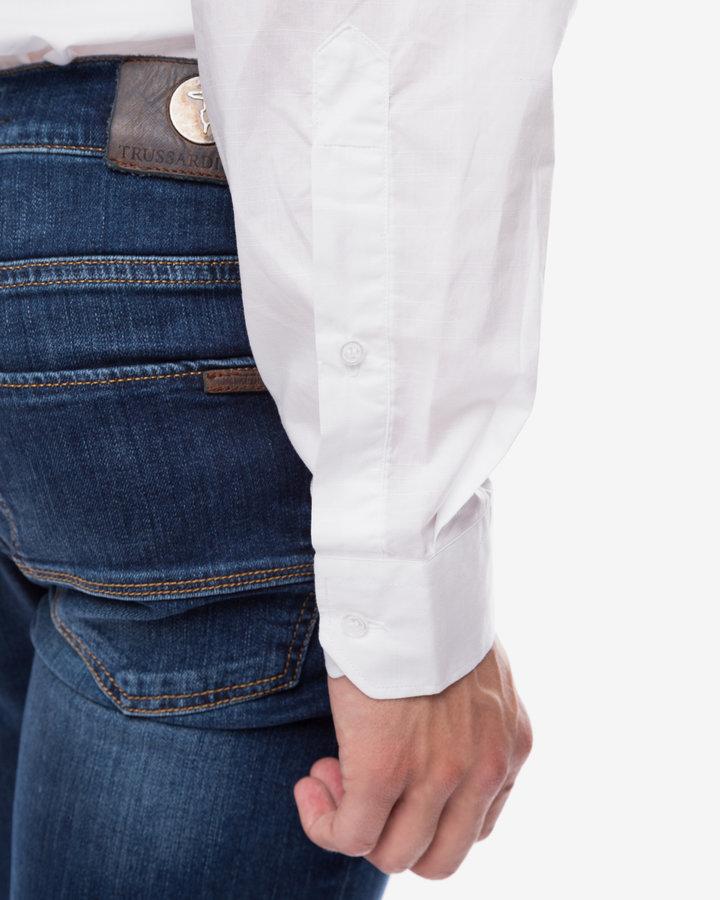 Bílá pánská košile s dlouhým rukávem Trussardi Jeans - velikost 41