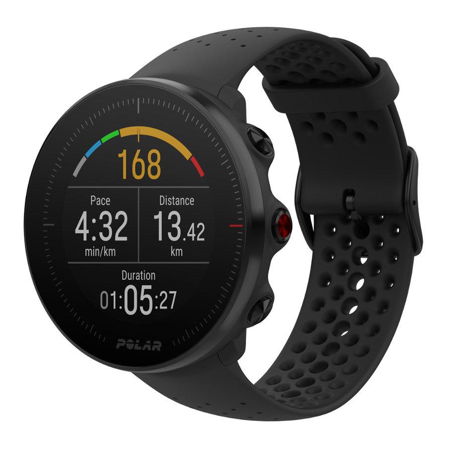 Černé digitální sportovní chytré hodinky Polar
